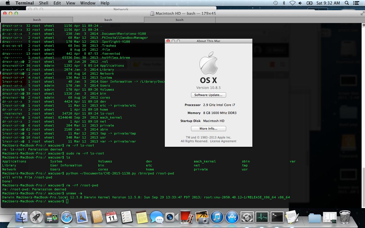 Рис. 17. Пример запуска эксплойта для CVE-2015-1130 в OS X 10.8.5