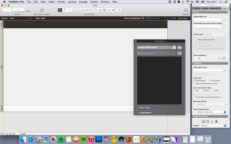 FileMaker Pro 14 после создания новой базы данных