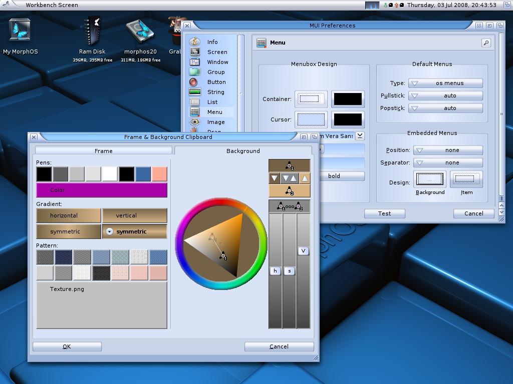 В проекте MorphOS используется интерфейс MUI «от производителя». В отличие от AROS, где применяется его открытый порт Zune