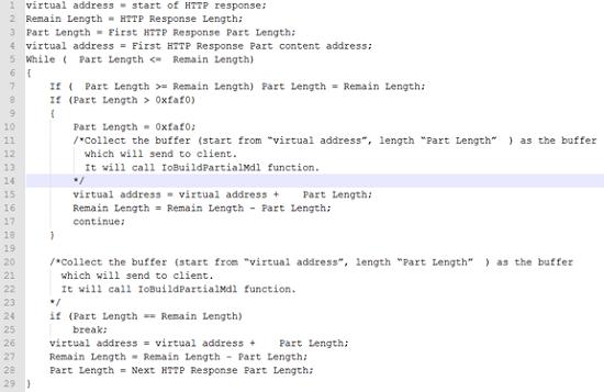 Упрощенный HTTP-код для `TcpSegmentTcbSend()`