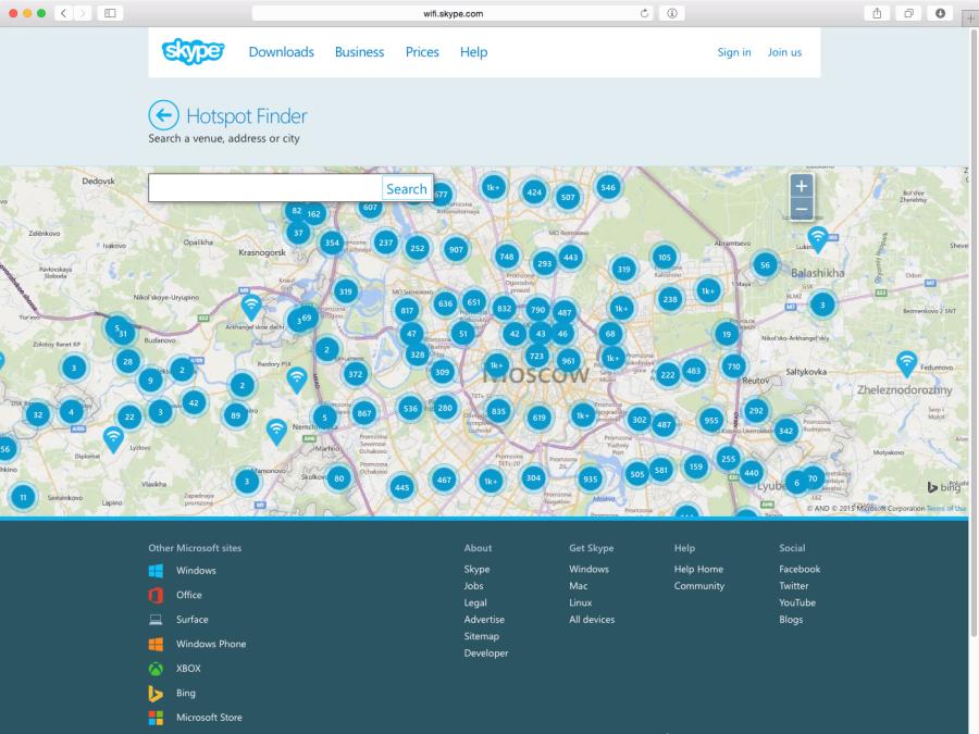 В Москве предостаточно точек Skype WiFi