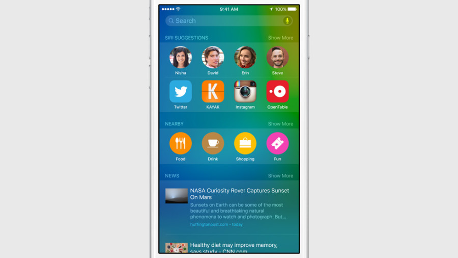 Экран поиска в iOS 9 пытается предугадать, что будет актуально в конкретном месте, в конкретный момент
