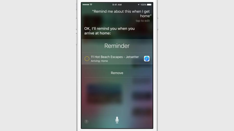 Siri в iOS 9 напоминает посмотреть веб-страницу по приходу домой