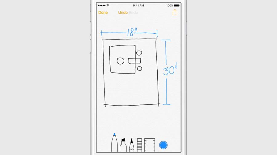 Notes в iOS 9 позволяет рисовать от руки