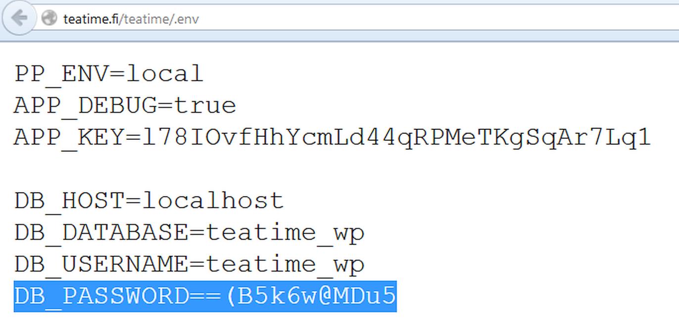Пароль к базе данных открыто хранится в конфигурационном файле