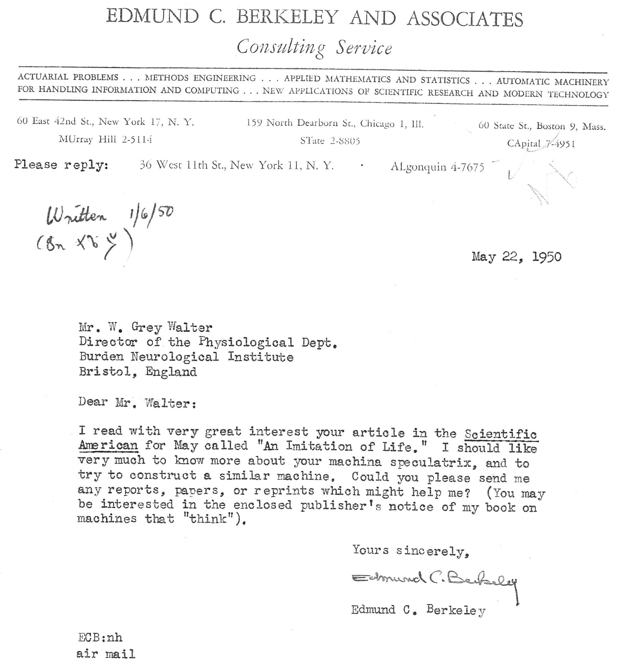 Письмо Эдмунда Беркли изобретателю робочерепах Уолтеру Грею