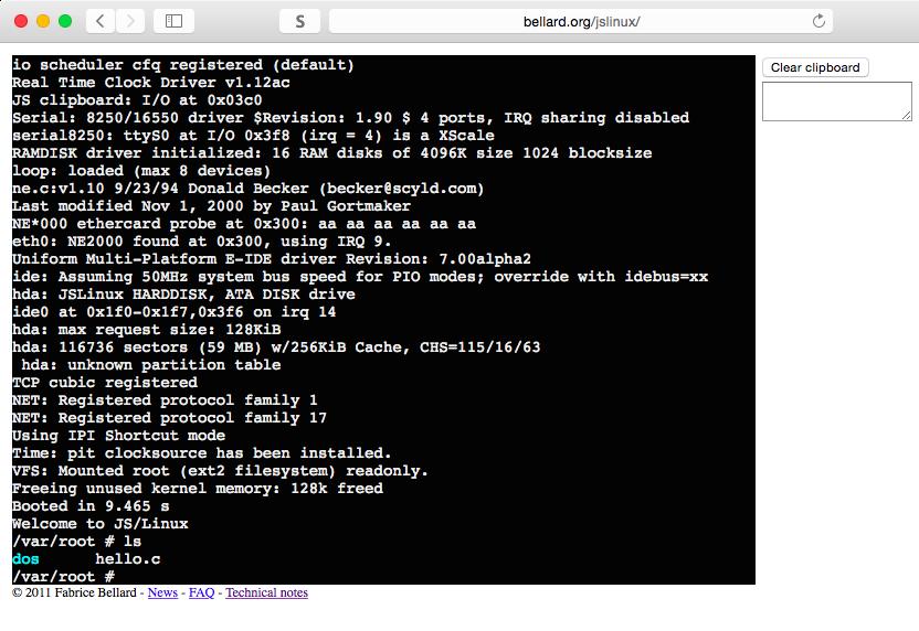 JSLinux эмулирует в браузере компьютер, способный загрузить полноценный Linux