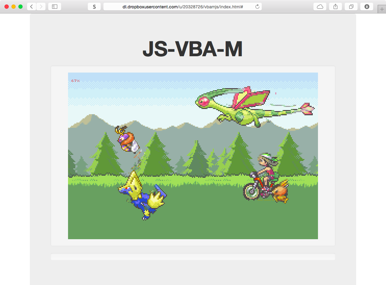 Одна из версий игры Pokemon в эмуляторе JS-VBA-M
