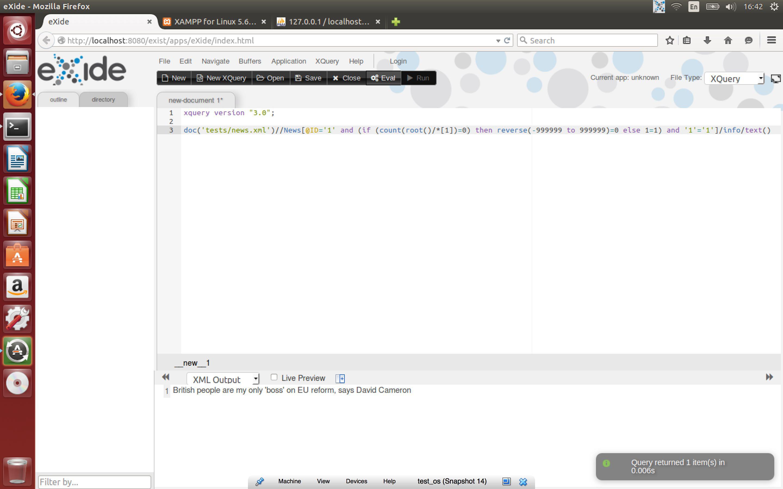 Внедрение конструкций в XQuery-запрос к базе данных eXist-db