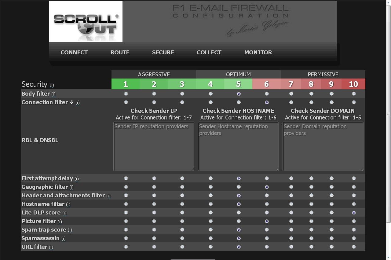 Настройка уровня «агрессивности» компонентов системы в Scrollout