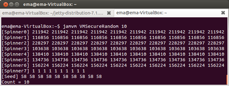 Рис. 15. Вывод модифицированного VMSecureRandom на машине с одним процессором