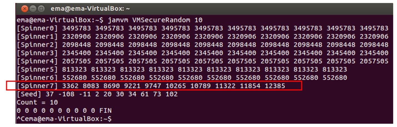 Рис. 17. Выход модифицированного VMSecureRandom на машине с двумя процессорами