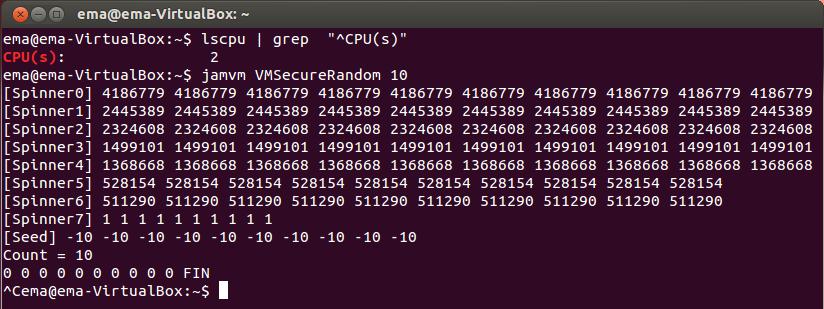 Рис. 19. Выход модифицированного VMSecureRandom, работающего параллельно с задачей, потребляющей процессорное время, на двухпроцессорной машине