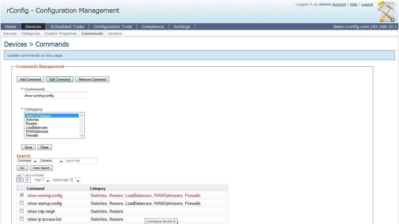 rConfig — управление командами, выполняемыми на устройствах
