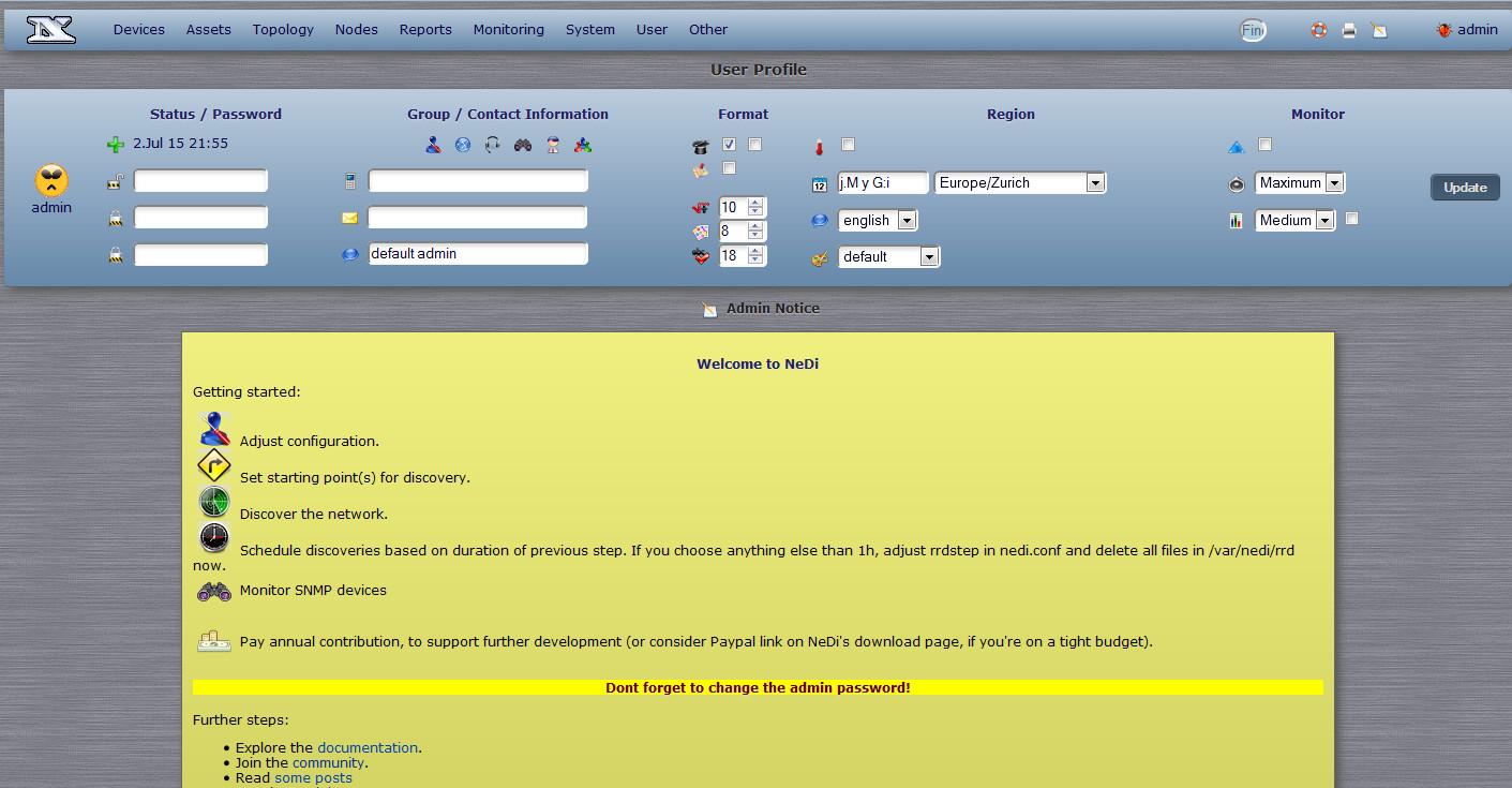 После регистрации NeDi показывает список основных задач