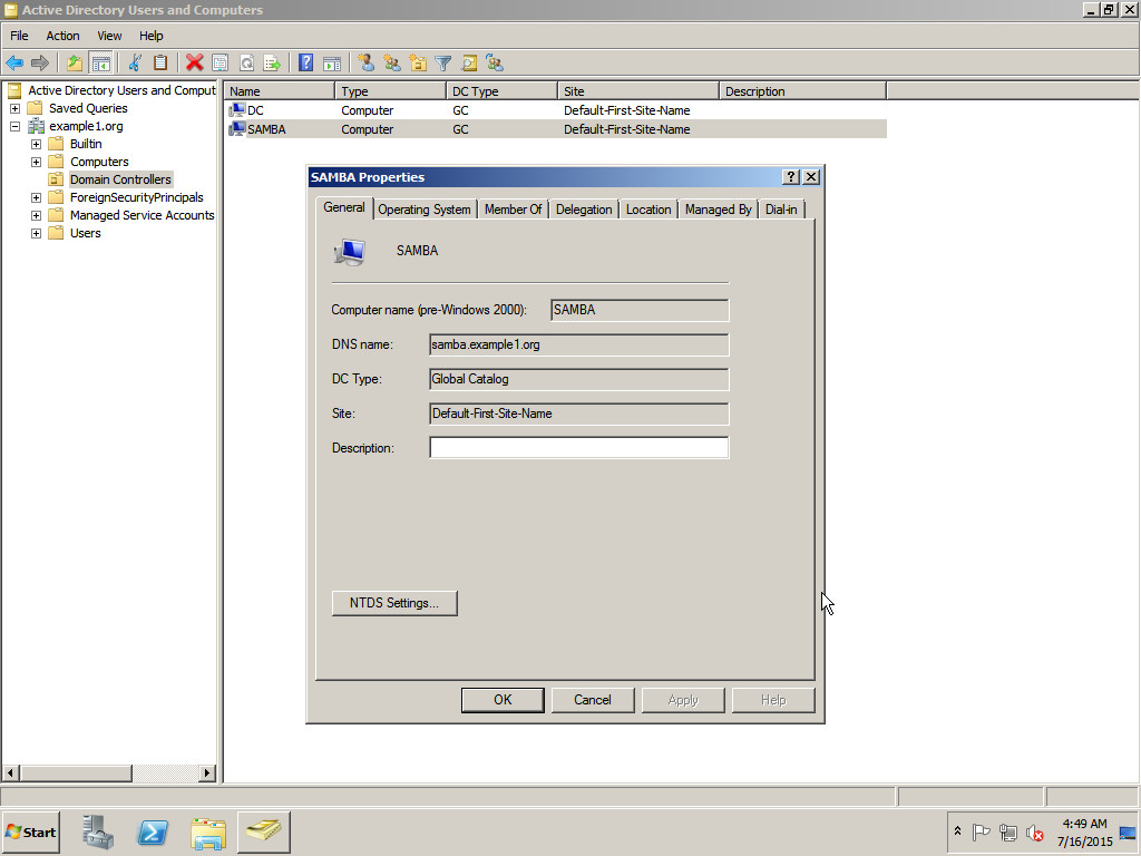 Новый КД в консоли Active Directory Users and Computers