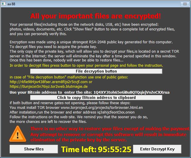 Окно с требованием оплаты TeslaCrypt версии 0.4.0 (RSA-2048 написано для устрашения, в реальности используется AES-256-CBC)
