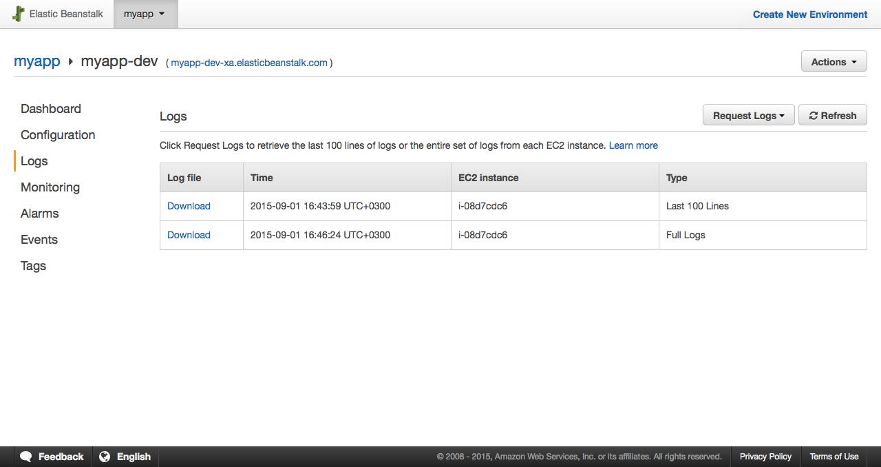 Запрашиваем логи через GUI в настройках нашего окружения