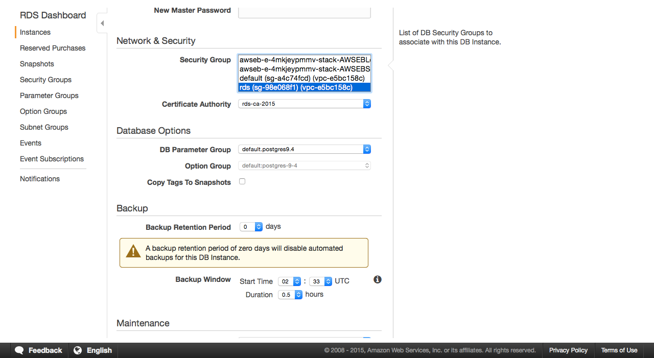 Задаем для RDS созданную секьюрити-группу