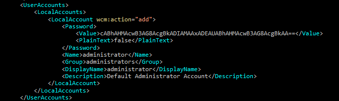 Пример файла unattend.xml из интернета. Пароль админа в Base64