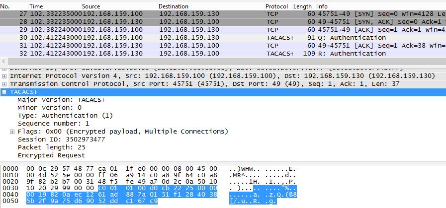 Пример заголовков пакетов TACACS+, используемых для генерации MD5