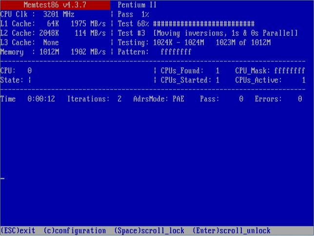 Утилита MemTest с автозагрузкой версии для старых типов памяти