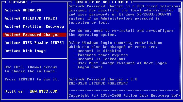 Набор утилит Active@ для DOS запускается с NTFS
