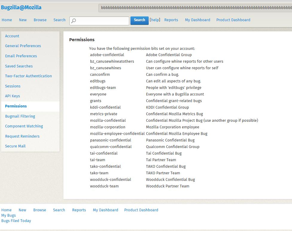 Скриншот полученных прав доступа на bugzilla.mozilla.org