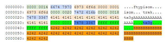 Дополнительный чанк `tx3g` для срабатывания ошибки