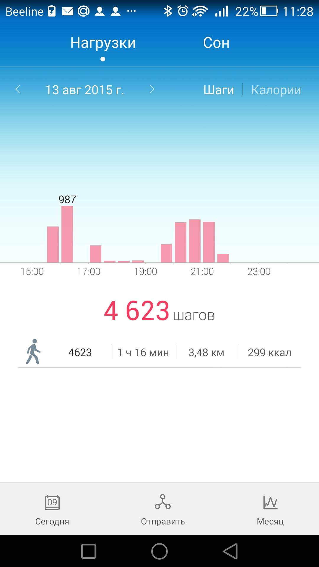 Отчет за день в Huawei Wear