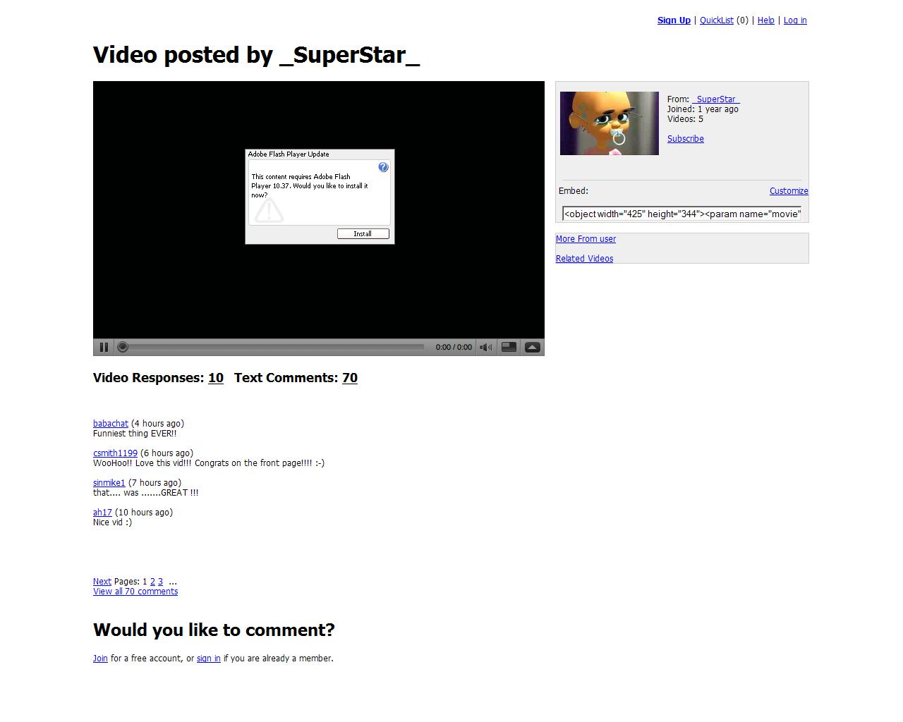 Поддельный YouTube, на который перенаправлял жертву червь Koobface