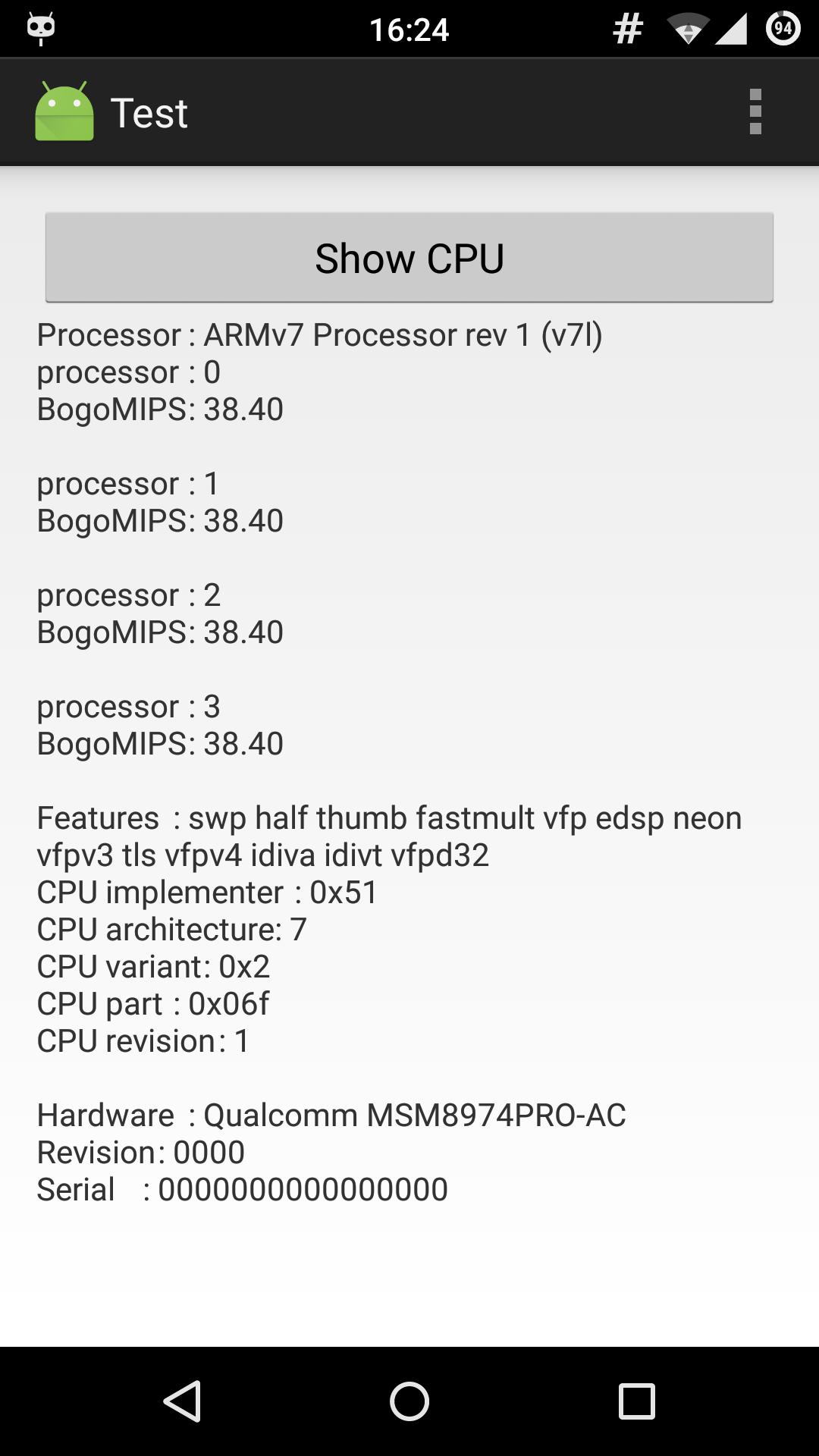 Собственный CPU-Z в две строки