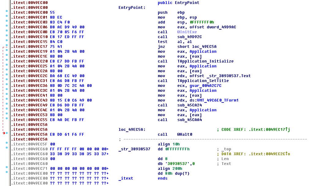Рис. 4. Код по точке входа Aura