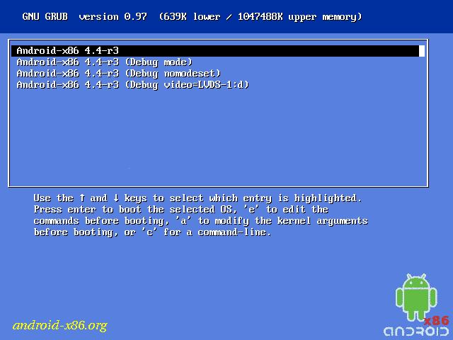 Загрузочное меню Android-x86