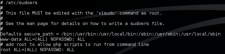 Содержимое файла /etc/sudoers