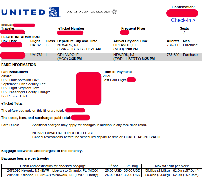 luggage and united flight number