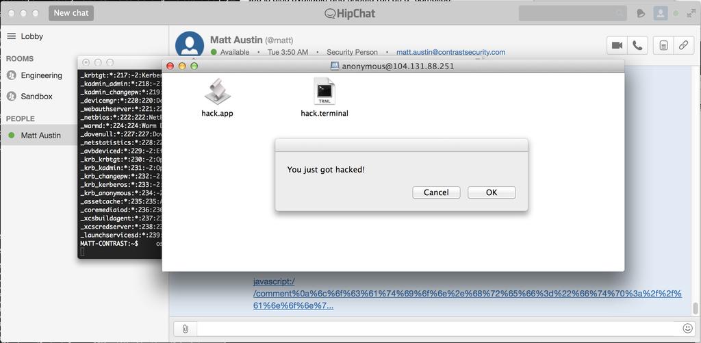 Пример успешного запуска эксплоита для уязвимости в HipChat на OS X