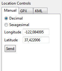 Sending coordinates to emulator