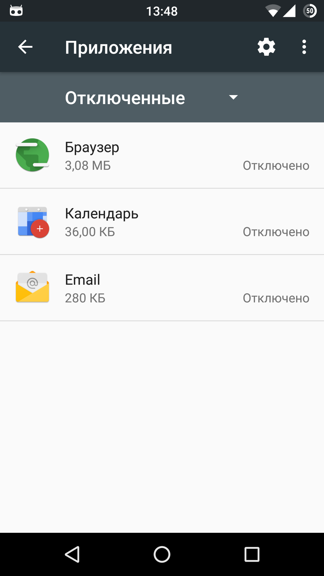 List of disabled applications