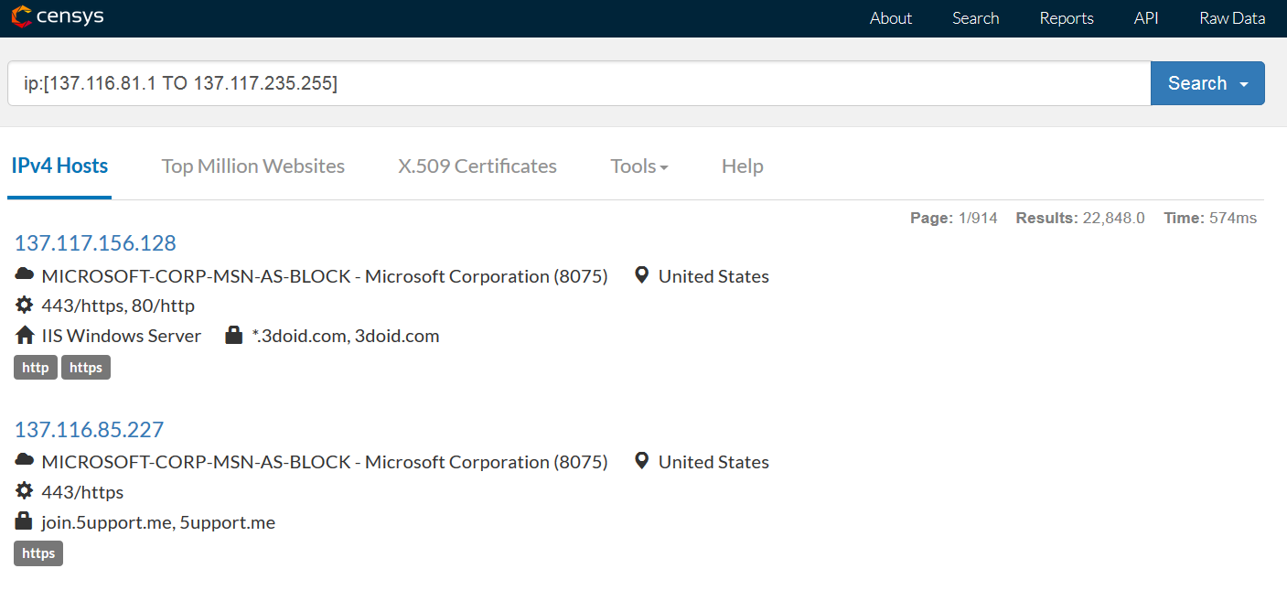 Следящие узлы в одной из подсетей Microsoft