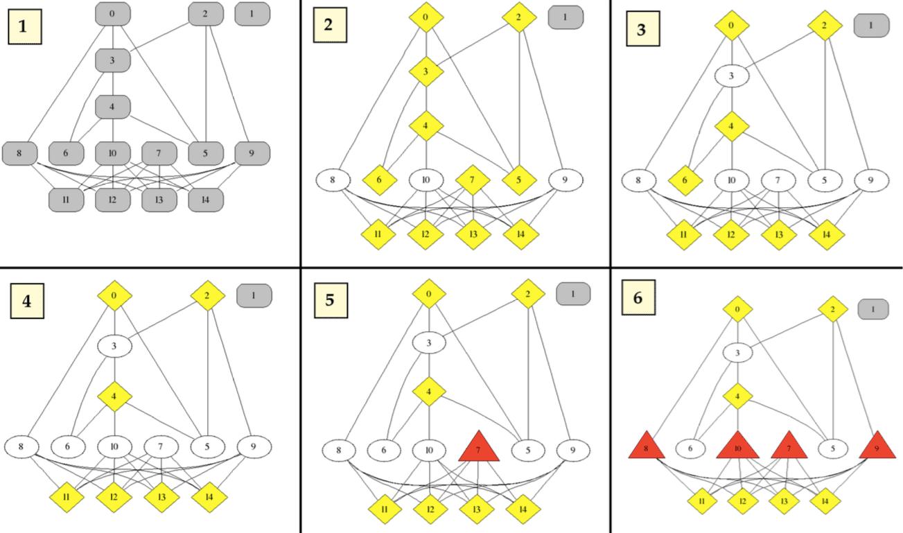 На этой иллюстрации серым помечены вершины с неопределенным состоянием, красным — мошенники, а желтым — их пособники