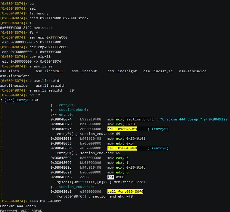 Рис. 2. Примeр эмуляции crackme для x86 c использованием команды aesu