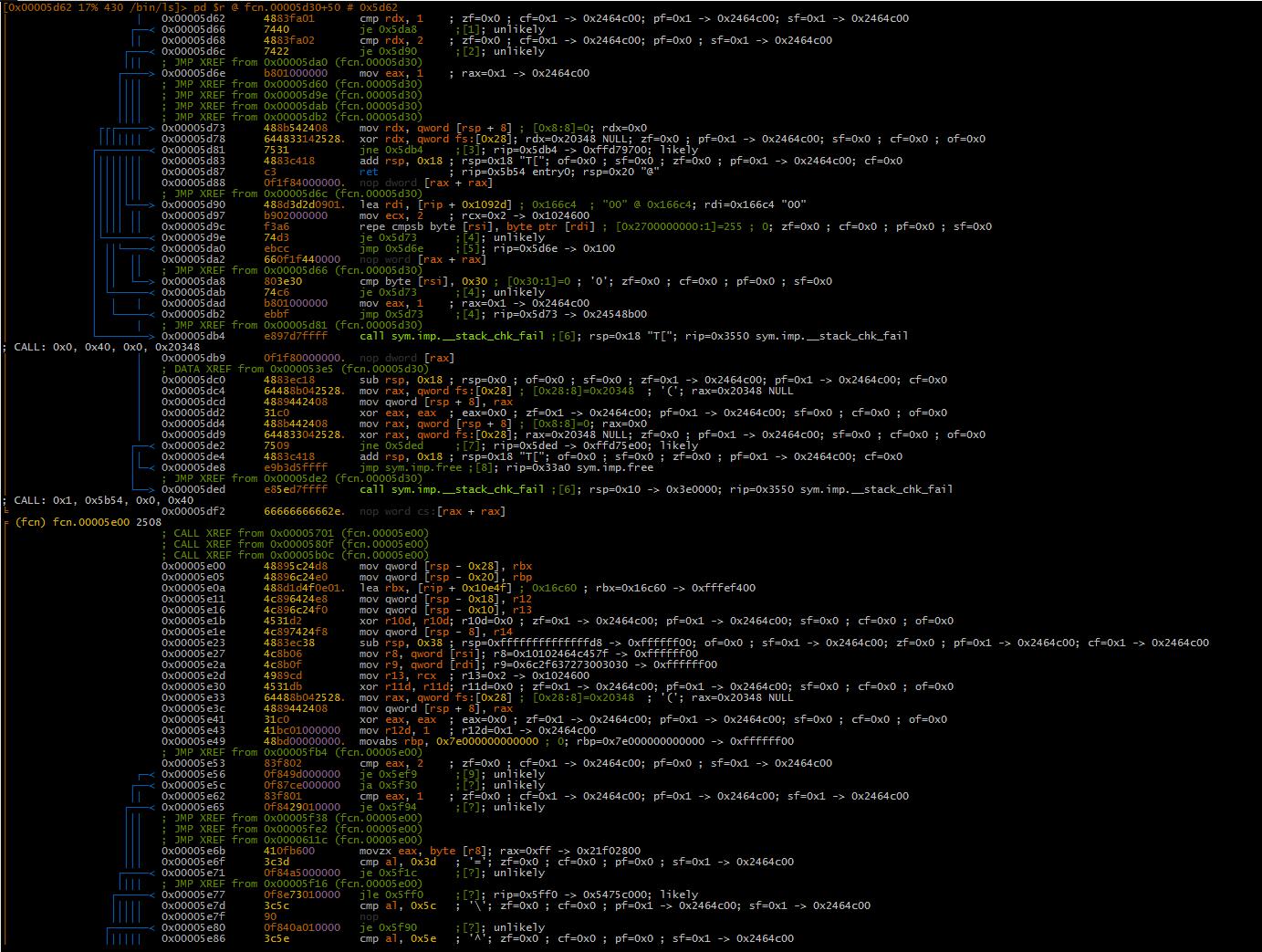 Рис. 3. Результат эмуляции участка кода с использовaнием ESIL