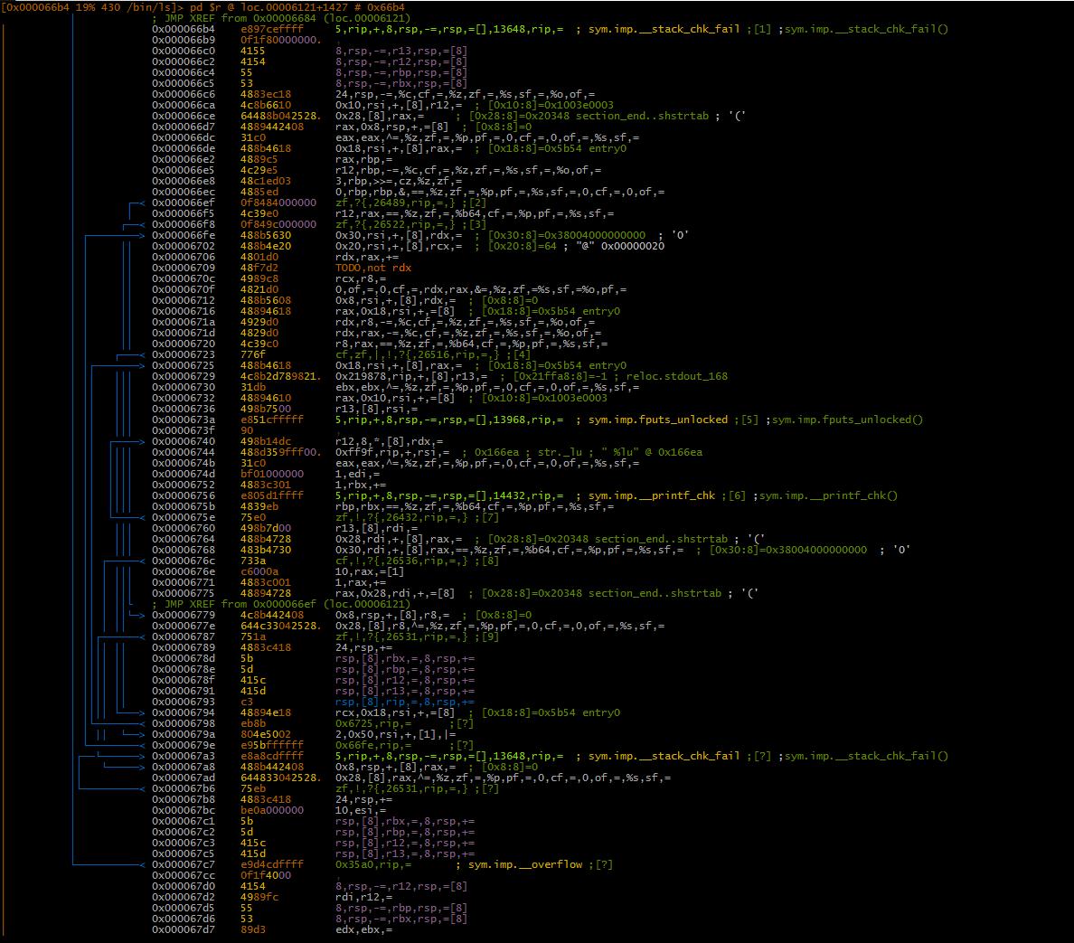 Рис. 4. Вывод ESIL вместо дизассемблированного кода