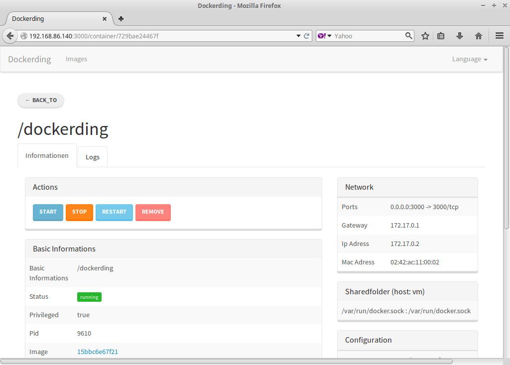 Интерфейс Dockerding