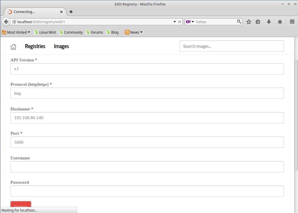 Подключение к репозиторию в Docker Registry UI