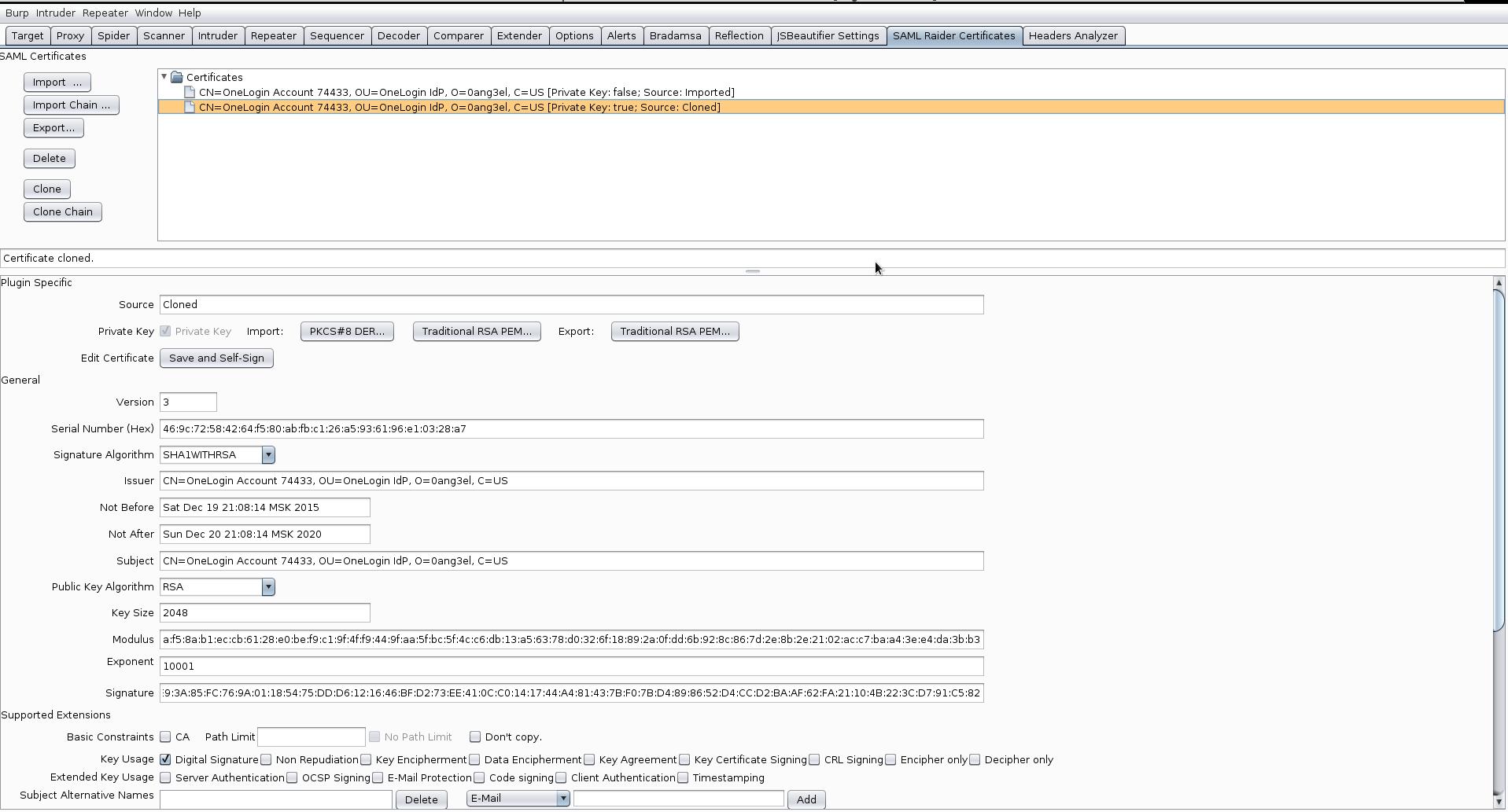 Рис. 14. SAML Raider Certificates tab