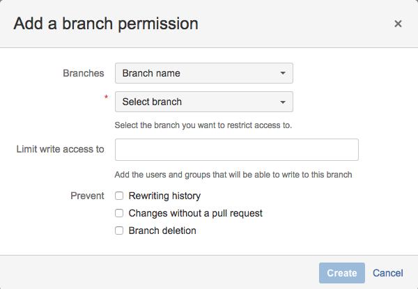 Branch permissions в продукте Bitbucket Server